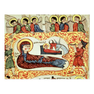 Carte Postale Mme 404 fol.1v la nativité, d'un évangile