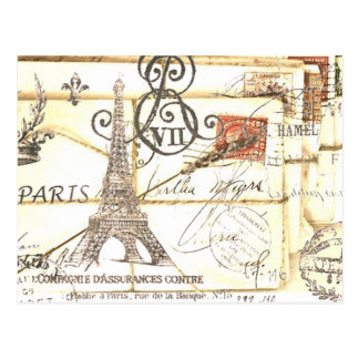 Carte Postale Mode florale girly vintage élégante de Paris
