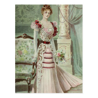 Carte Postale Mode française de Dame-Cru victorien - robe rose