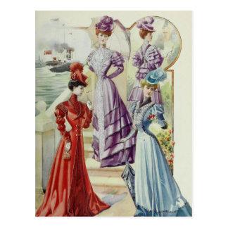 Carte Postale Mode française vintage - robe violette
