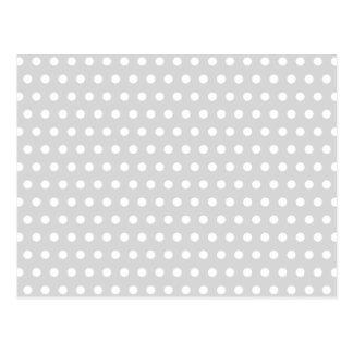 Carte Postale Modèle de point gris-clair et blanc de polka