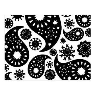 Carte Postale Modèle noir et blanc de Paisley