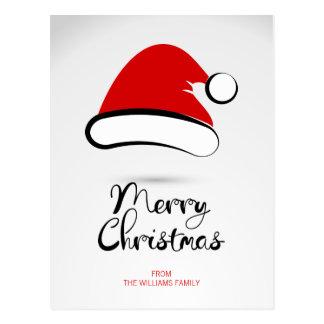 Carte postale moderne de casquette de Père Noël de
