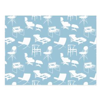 Carte postale moderne de chaises de la moitié du