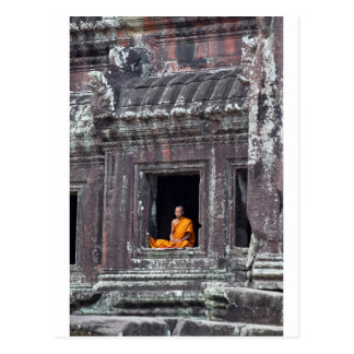 Carte Postale Moine bouddhiste Angkor Vat méditant