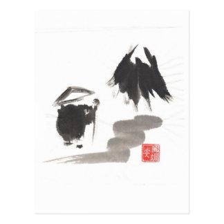 Carte Postale Moine de zen et montagne d'éclaircissement