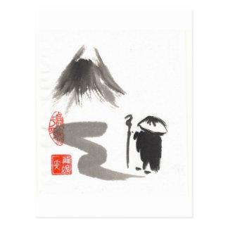 Carte Postale Moine de zen sur le voyage