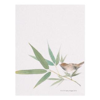 Carte Postale Moineau et bambou