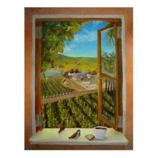 Carte Postale Moineaux sur le rebord de fenêtre