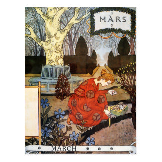 Carte postale : Mois de mars - Mars