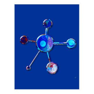 Carte Postale Molécule métallique bleue