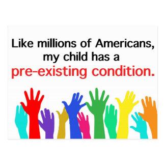 Carte Postale Mon enfant a une condition préexistante. Soins de