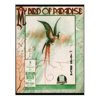 Carte Postale Mon oiseau de couverture vintage de feuille de