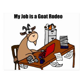 Carte Postale Mon travail est une conception de rodéo de chèvre