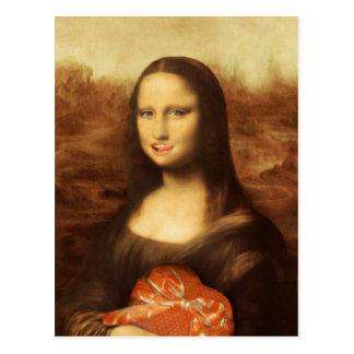 Carte Postale Mona Lisa aime la sucrerie de Valentine
