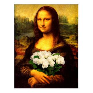 Carte Postale Mona Lisa avec le bouquet des roses blancs