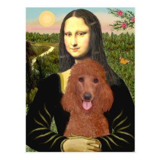 Carte Postale Mona Lisa - caniche standard rouge foncé #1