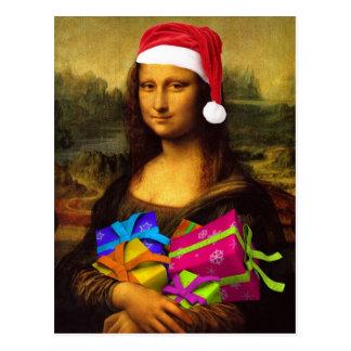 Carte Postale Mona Lisa drôle le père noël