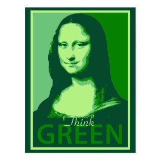 Carte Postale Mona Lisa est verte