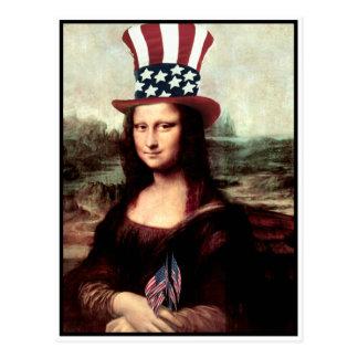 Carte Postale Mona Lisa patriote - préparez pour le Jour de la