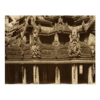 Carte Postale Monastère ou pagoda, détail, probablement Mandalay