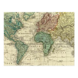 Carte Postale Monde sur la projection de Mercators
