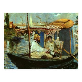 Carte Postale Monet dans son bateau de studio