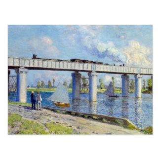 Carte Postale Monet - pont de chemin de fer à Argenteuil