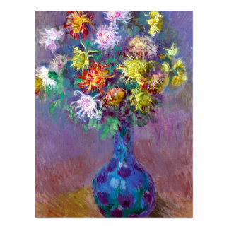 Carte Postale Monet Vase de Chrysanthemes Flowers