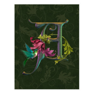 Carte Postale Monogramme A de colibri