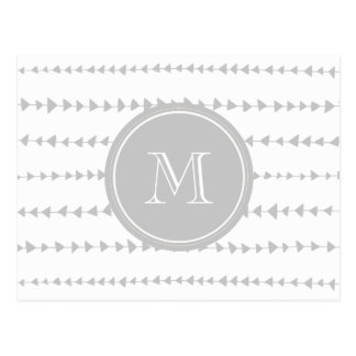 Carte Postale Monogramme aztèque de flèches de blanc gris