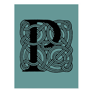 Carte Postale Monogramme celtique vintage de noeud de la lettre