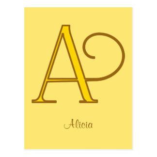 Carte Postale Monogramme d'or élégant A de nouveau d'art