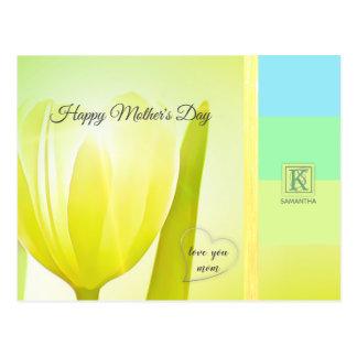 Carte Postale Monogramme en pastel de photo de tulipe de palette