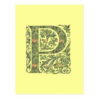 Carte Postale Monogramme feuillu floral fleuri de P