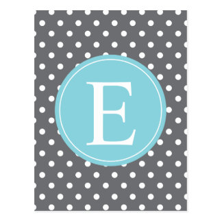 Carte Postale Monogramme gris de bleu de point de polka