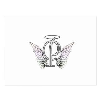 Carte Postale Monogramme initial de la lettre P avec des ailes