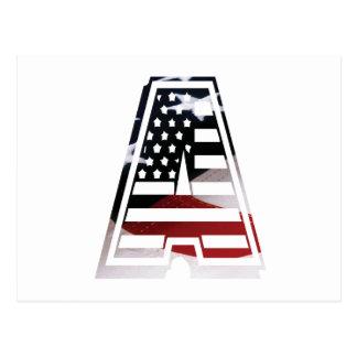 Carte Postale Monogramme une initiale américaine de drapeau des