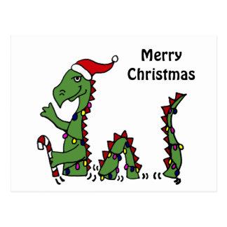 Carte Postale Monstre drôle de Loch Ness dans Noël de casquette