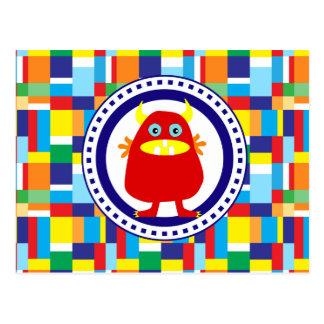 Carte Postale Monstre rouge mignon sur les blocs colorés de