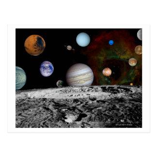 Carte Postale Montage de système solaire des images de Voyager