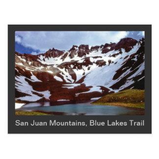 Carte Postale Montagnes de San Juan, traînée bleue de lacs