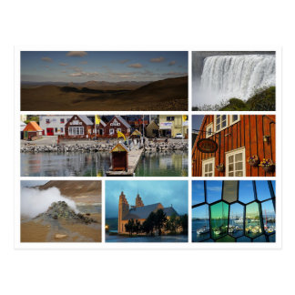 Carte Postale Montagnes reykjavik de cascade de collage de