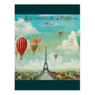 Carte Postale Monter en ballon au-dessus de Paris