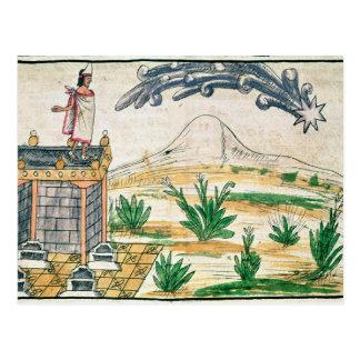 Carte Postale Montezuma II observant une comète, 1579