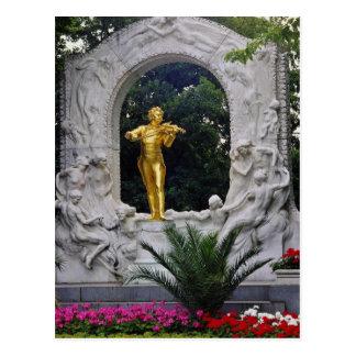 Carte Postale Monument blanc de Johann Strauss, flo de Vienne,
