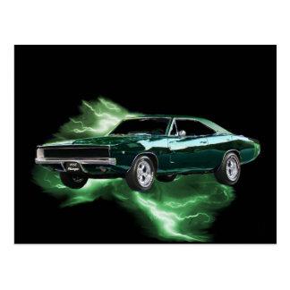Carte Postale Mopar : 'Chargeur de 68 Dodge avec la foudre verte