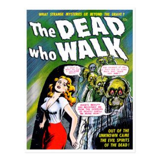 Carte Postale Mort qui promenade - horreur vintage de zombi