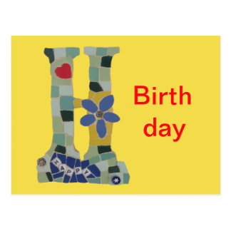 Carte Postale Mosaïque Cust horizontal de joyeux anniversaire.