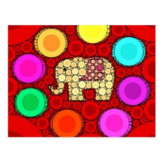 Carte Postale Mosaïque rouge géniale de cercles concentriques